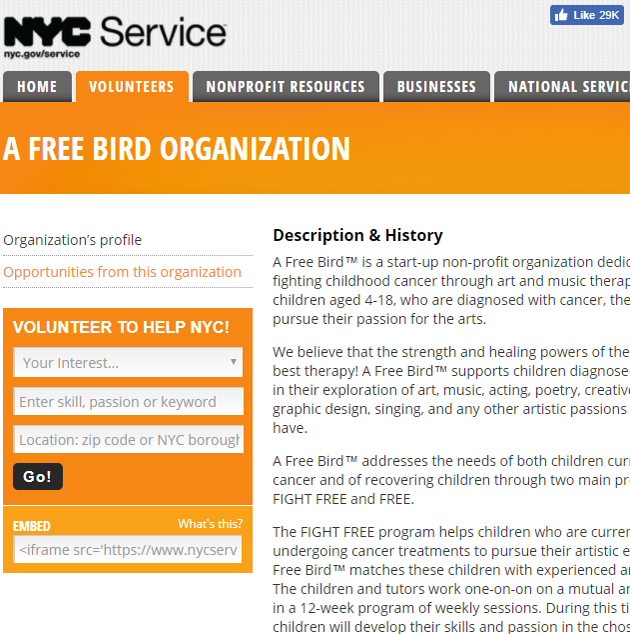 NYC Service talks about A Free Bird