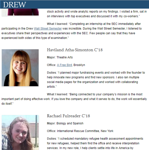 Drew University Names AFB One of the Coolest Internships